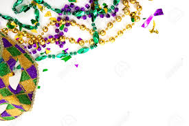 purple gold and green mardi gras mask and beads on a white