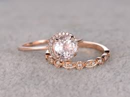 gold bridal set 1 2 carat morganite wedding set diamond bridal ring 14k