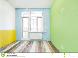 empty cheerful kids room with color walls stock photo image
