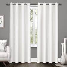 Winter Window Curtains Tweed Winter White Textured Linen Blackout Grommet Top Window