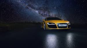 Audi R8 Yellow - audi r8 yellow supercar night space star road reflection hd wallpaper