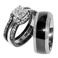 set ring his hers 4 pcs black ip stainless steel cz wedding