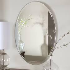 Frameless Bathroom Mirror Bathroom Mesmerizing Oval Frameless Bathroom Mirrors On White