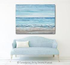 original home decor original art blue abstract painting large textured beach coastal