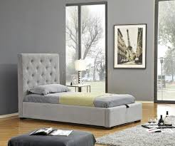 Prague Sofa Upholstered Storage Bed In Light Grey Fabrc By J U0026m