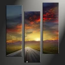 triptych colorful sunset landscape mountain multi panel canvas