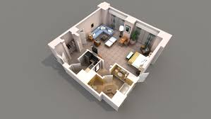 plain 3d studio apartment floor plans 1 bedroom plan intended for