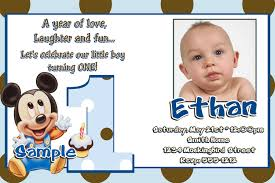 Sample 1st Birthday Invitation Card Baby Mickey Mouse 1st Birthday Invitations