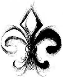 black and white fleur de lis tattoo design