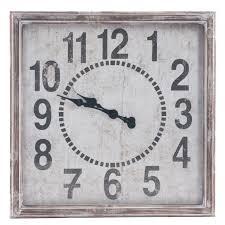 Grande Horloge Murale Carrée En Bois Vintage Achat Murale Carré Style Vintage 71x71x7cm En Bois Coloris Gris Patiné