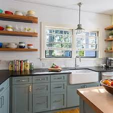 Small Kitchen Remodel Featuring Slate by Slate Blue Kitchen Cabinets Vintage Kitchen Sicora Design