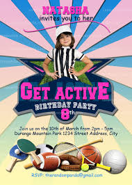 active invitation sports party girls sports birthday soccer invite