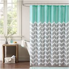 Gray Chevron Shower Curtain Blue Gray And White Shower Curtain In Bathroom With Wooden Floor Jpg