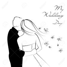dessin mariage contexte de mariage en noir et blanc clip libres de droits