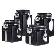 black ceramic kitchen canisters oggi 4 ez grip airtight ceramic canisters with stainless