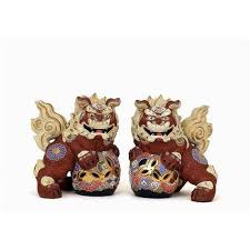 kutani shishi pair japanese kutani shishi fu foo dog lion sg 835223