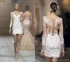 discount 2016 short lace wedding dresses v neck illusion long