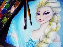 frozen elsa watercolor lapse painting disney princess