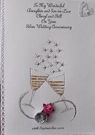 personalised handmade wedding anniversary card 25th silver