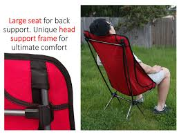 Ultralight Backpacking Chair Trekology Compact Portable High Back Camping Chair With Head Rest