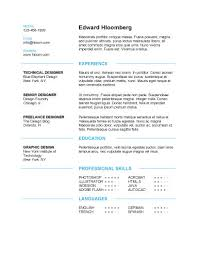 Free Sample Resume Templates Word Simple Resume Template Resume Format Template Word Free Resume