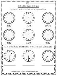 telling time to the hour and half hour worksheet worksheets