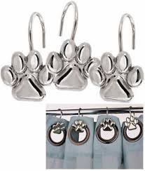 Rhinestone Shower Curtain Hooks Nwt Set 12 Dog Cat Paw Print Silver Shower Curtain Hooks Dog Cat