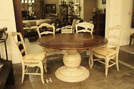 French Country Kitchen Table Round Country Wood Table And Painted Pedestal Base For Kitchen