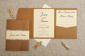 pocket fold rustic and lace pocketfold wedding invitation be my guest