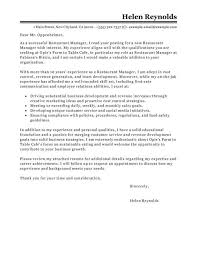 restaurant management cover letter restaurant manager cover
