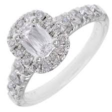2ct engagement rings martin flyer promise cut cushion halo diamond engagement ring in