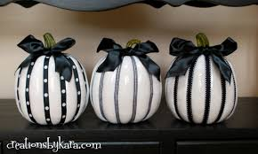 halloween decor black and white pumpkins