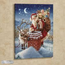 Lighted Santa Sleigh Reindeer Set by Dona Gelsinger Santa Lighted Canvas Art