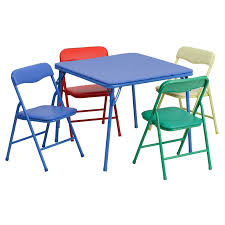 Toddler Table Chair Kids Colorful 5 Piece Folding Table And Chair Set