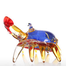 best and cheap multicolored tooarts flower crab gift glass
