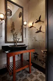 Wall Art For Powder Room - powder room wall art powder room asian with metallic wallpaper