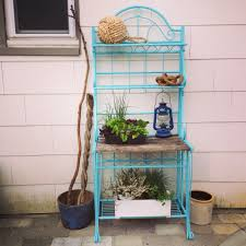 Big Lots Bakers Rack Blue Bakers Rack Repurposed For Outdoor Storage Bakers Rack For