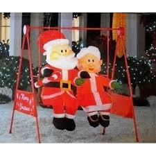 mrs claus porch swing animated home
