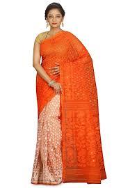 jamdani sharee handloom cotton silk jamdani saree in orange and spn3547