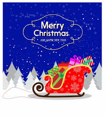 christmas card design with sleigh full of presents vectors stock