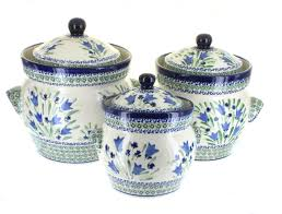 blue rose polish pottery blue tulip large canister set blue tulip large canister set