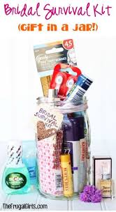 what of gifts to give at a bridal shower diy bridal survival kit in a jar from thefrugalgirls the