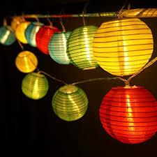 Interior Decorative Lights Amazon Com Hqoon Globe String Lights With Mini Nylon Lantern
