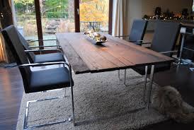 Esszimmer Aus Eiche Esstisch Mit Edelstahlgestell Und Bohlen Als Tischplatte Aus 250