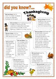 worksheets thanksgiving facts