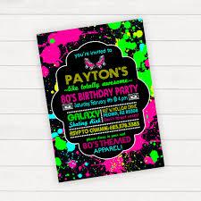 80s party invitation 80s birthday neon birthday party 80s
