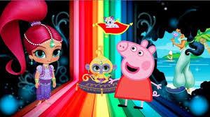 shimmer shine peppa pig aladdin coloring cartoon painting