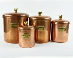 copper canister set kitchen vintage copper and brass canister set by deerstopvintagehome
