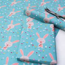 daisy the rabbit wrapping paper 5 sheets dotcomgiftshop