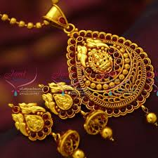 red gold jewelry necklace images Ps4139 red gold plated kemp stones south indian traditional temple JPG